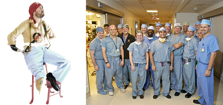 LEFT: Will as a funky pirate. Photo by Asia Kepka RIGHT: The Brigham and Women's Hospital surgical team after completing the hospital's first double-hand transplant in 2011. Photo courtesy of Brigham and Women's Hospital
