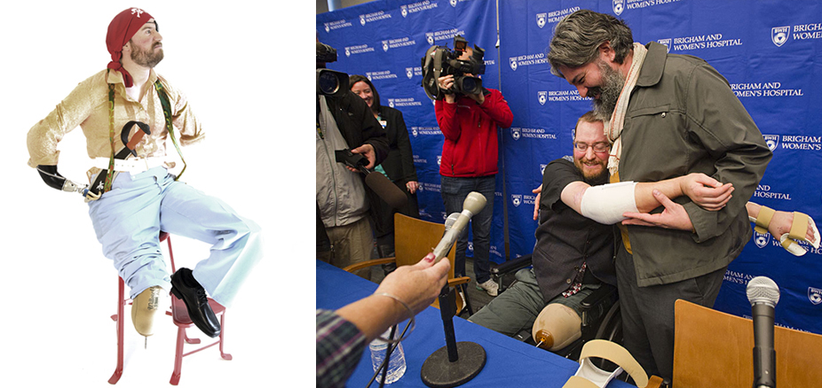 Left: Will dressed up as a funky pirate. Photo by Asia Kepka. Right: Will hugs Angel at a press conference. Photo courtesy of Brigham and Women's Hospital