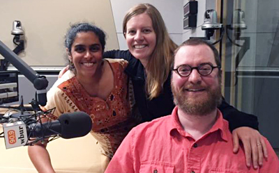 Meghna Chakrabarti, Robin Berghaus and Will Lautzenheiser after an interview on WBUR's Radio Boston. Photo by Alison Bruzek