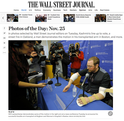 Wall Street Journal's 'Photo of the Day' features Will Lautzenheiser at a press conference at the Brigham and Women's Hospital. Photo by Brian Snyder/REUTERS