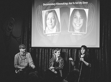 Directors Robin Berghaus and Dana Nachman speak with high school students at OFF Academy during the Omaha Film Festival. Photo by  Jerred Zegelis