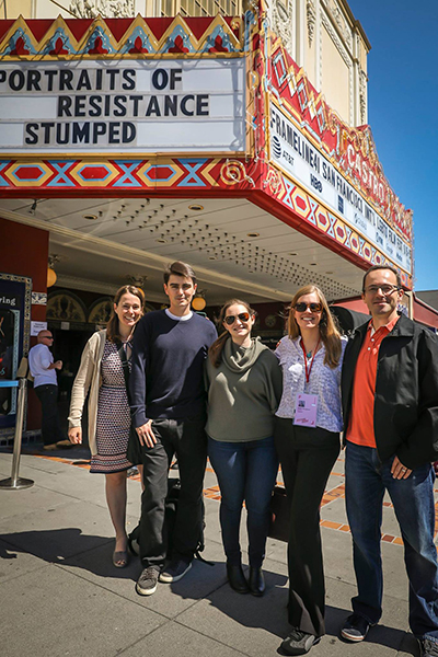 Our team and friends at the Frameline Film Festival. Kara McCarthy, Kevin Comer, Emma Brady, Robin Berghaus and Bryan Davies. Photo by Jim Norrena