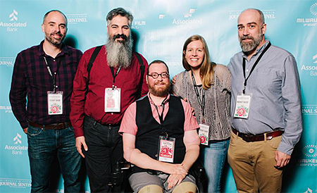 Our team on Opening Night of the Milwaukee Film Festival: Kevin McCarthy, Angel Gonzalez, Will Lautzenheiser, Robin Berghaus and Steve Delfino. Photo courtesy of Milwaukee Film.