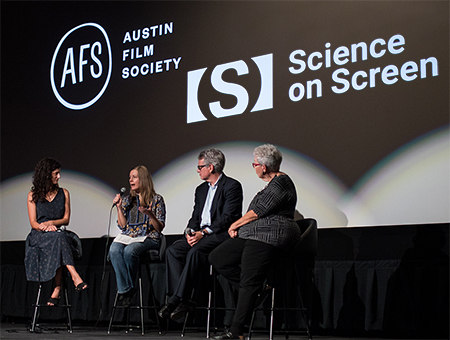 STUMPED Q&A for Science on Screen at AFS Cinema. Panelists include Holly Herrick, Robin Berghaus, Dr. Richard Freeman and Linda Meeker