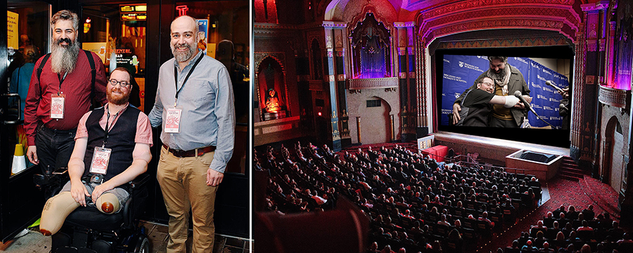 Photos from Opening Night at the 2017 Miwaukee Film Festival. At left: Angel Gonzalez, Will Lautzenheiser and Steve Delfino. At right: a packed house for our STUMPED screening at the historic Oriental Theatre. Photos courtesy of Milwaukee Film